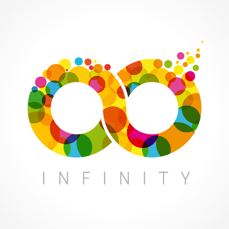 Infinity loop logotype. Stained glass. Isolated branding corporate symbol, infinite shape, template multicolored idea with bubbles or coins