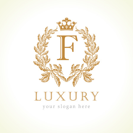 Luxury F letter and crown monogram logo. Laurel elegant beautiful round with crown and wreath. Vector letter emblem F for Antique, Restaurant, Cafe, Boutique, Hotel, Heraldic, Jewelry