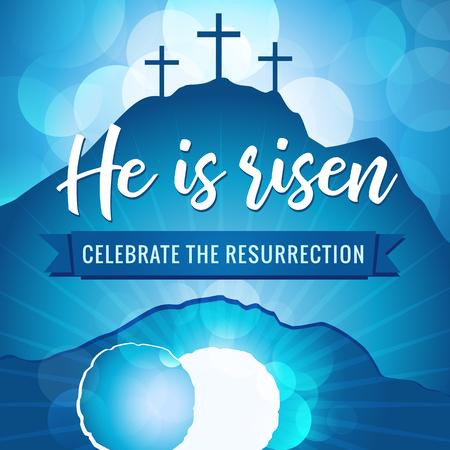 Zmartwychwstał w świętym tygodniu. Wielkanocny motyw chrześcijański, wektor zaproszenie na nabożeństwo w Niedzielę Wielkanocną z kamieniem tekstowym Kalwarii.