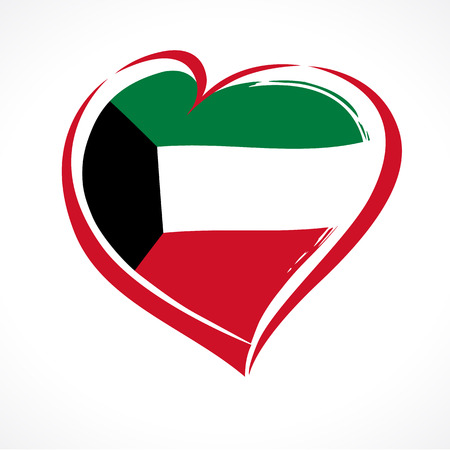 Heart in national flag Kuwait banner. Happy National Day Kuwait, national flag in heart, 25 February poster