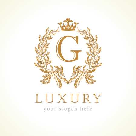 Luxury G letter and crown monogram logo. Laurel elegant beautiful round with crown and wreath. Vector letter emblem G for Antique, Restaurant, Cafe, Boutique, Hotel, Heraldic, Jewelry  イラスト・ベクター素材