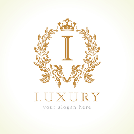 Luxury I letter and crown icon
