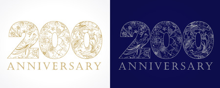 200 years old luxurious celebrating numbers. Template golden, silver colored, happy anniversary, decorating greetings, second 2nd place, one, two, ten, twenty, 0 or letter O traditional congratulating pattern.
