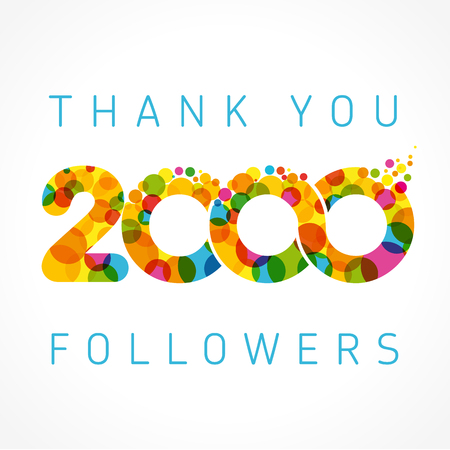 Thank you 2000 followers numbers. Congratulating multicolored thanks image for net friends like,% percent off discount, colored round bubbles. Abstract celebrating picture, pixel pattern, greetings.