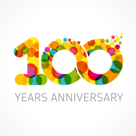 A 100 years old multicolored logotype for Anniversary greetings, congratulations pattern template. Isolated shape numbers.