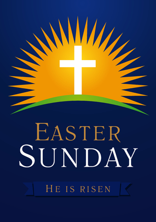 Easter Sunday, He is risen. Greetings, invite vector blue color template. Sunrise, open lighting empty cave, rock off, shining angel inside. Religious symbol and text. Jesus up from the death. Illustration