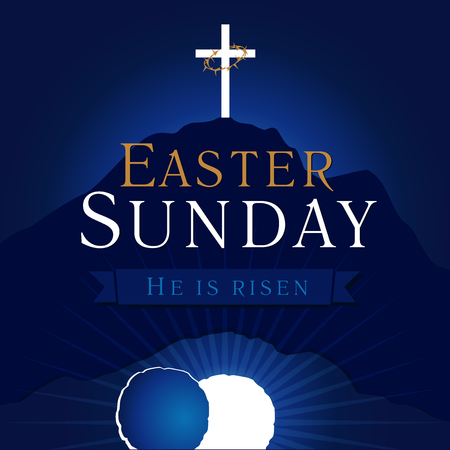 Easter Sunday, He is risen. Greetings, invite vector blue color template. Sunrise, open lighting empty cave, rock off, shining angel inside. Crown of thorns. Religious symbol. Jesus up from the death.