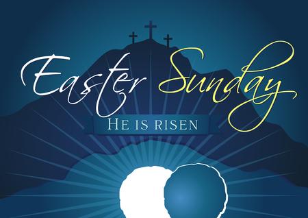 Niedziela Wielkanocna, zmartwychwstał. Pozdrowienia, szablon wektor niebieski kolor karty zaproszenie. Ilustracje wektorowe