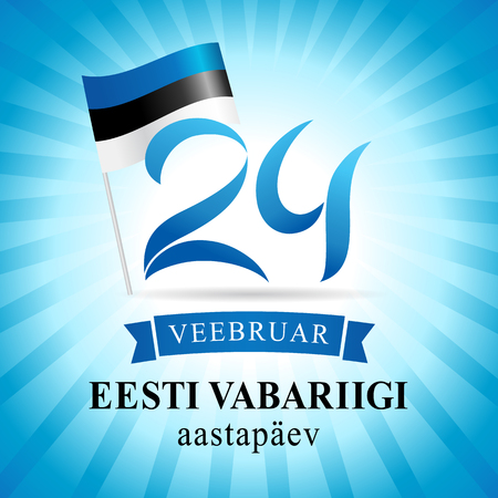 Independence Day Estonia, 24 February blue beams greeting card. Independence day of Estonia with text Eesti Vabariigi aastapäev 24 Veebruar on national flag vector background.