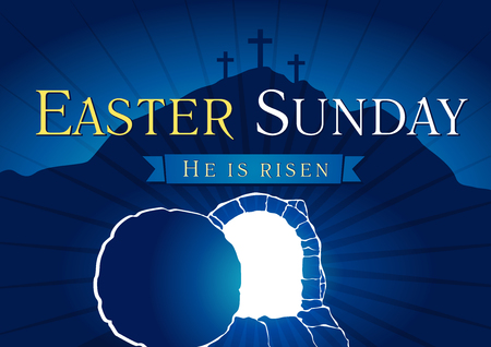 Easter Sunday, He is risen. Greetings, invite vector blue color template. Sunrise, open lighting empty cave, rock off, shining angel inside. Religious symbol. Jesus up from the death celebrating flyer. Banque d'images - 95851416
