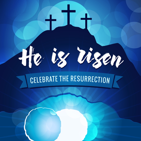 Hi is risen holy week easter navy blue banner. Vectores