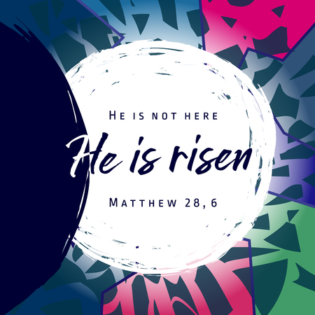 He is risen, He is not here. Invitation vector blue color template. Open lighting empty cave shining angel inside. Religious greetings. Jesus up from dead. Light in the end of the tunnel. Isolated element