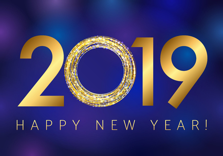2019 Happy New Year greetings. Dark blue background, golden glitter confetti.
