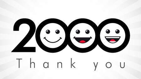 Thank you 2000 followers numbers. Congratulating black and white thanks, image with Round isolated emoji smiling people faces.