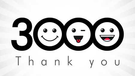 Thank you 3000 followers numbers. Congratulating black and white thanks, image for net friends in three colors, customers like, percent off discount. Round isolated emoji smiling people faces. Abstract celebrating logotype 일러스트