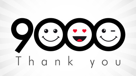Thank you 9000 followers numbers. Congratulating black and white thanks, image for net friends in two 2 colors, customers like,% percent off discount. Round isolated emoji smiling people faces.