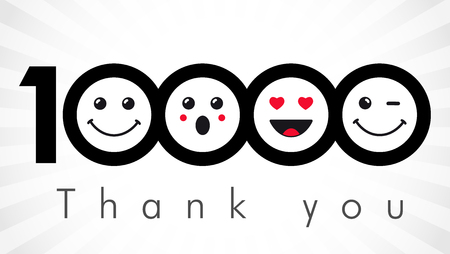 Thank you 10000 followers numbers. Vector illustration.