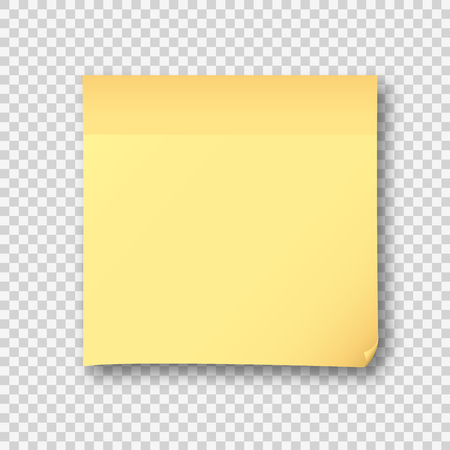 Yellow post note paper sheet sticker. Vector post office memo or remember notepaper sticky with shadow isolated on a transparent background Ilustração