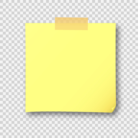 Empty yellow post note paper sheet sticker. Vector post office memo or remember yellow notepaper sticky with shadow isolated on a transparent background