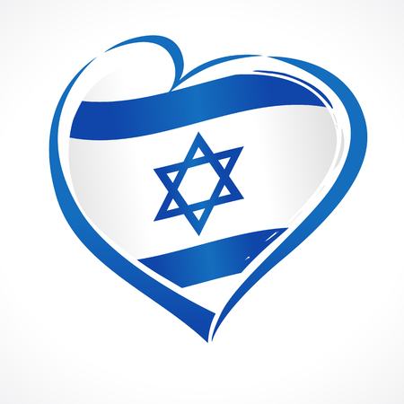 Ami Israele, bandiera nazionale dell'emblema del cuore colorata. Bandiera di Israele con forma di cuore per Israel Independence Day isolato su sfondo bianco. Illustrazione vettoriale