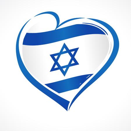 Love Israel, hart embleem nationale vlag gekleurd. Vlag van Israël met hartvorm voor Israel Independence Day geïsoleerd op een witte achtergrond. Vector illustratie
