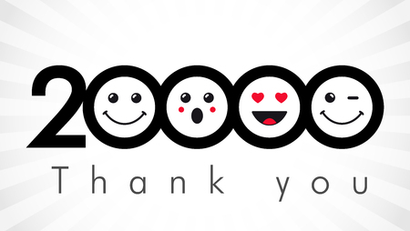 Thank you 20000 followers numbers.  Round isolated smiling people