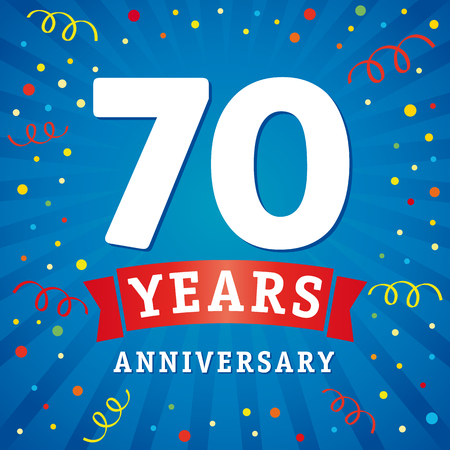 70 years anniversary logo celebration card. 70th years anniversary vector background with red ribbon and colored confetti on blue flash radial lines