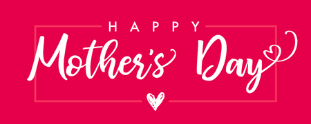 Happy Mother`s Day. Calligraphy vector text and heart in frame background for Mothers Day. Best mom ever greeting card