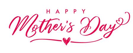 Bannière de calligraphie élégante Happy Mother`s Day. Texte de vecteur de lettrage et coeur en arrière-plan pour la fête des mères. Meilleure carte de voeux de maman.