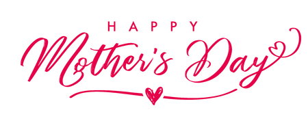 Happy Mother`s Day elegant calligraphy banner. Lettering vector text and heart in frame background for Mother's Day. Best mom ever greeting card. Stock Illustratie