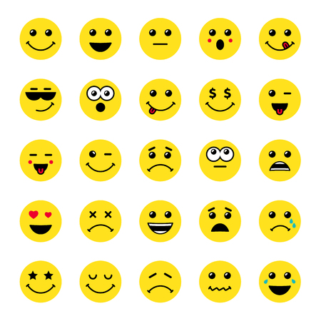 Set of line art round emoticons or emoji icons yellow. Smile icons vector illustration isolated on white background. Concept for World Smile Day.