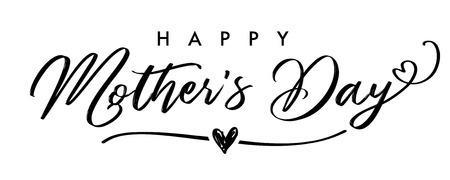 Happy Mother`s Day elegant calligraphy banner gray. Lettering vector text and heart in line background for Mothers Day. Best mom ever greeting card Stock Illustratie