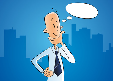 Business man thinking with idea in bubble. Businessman cartoon character on blue city background. Vector design Vetores