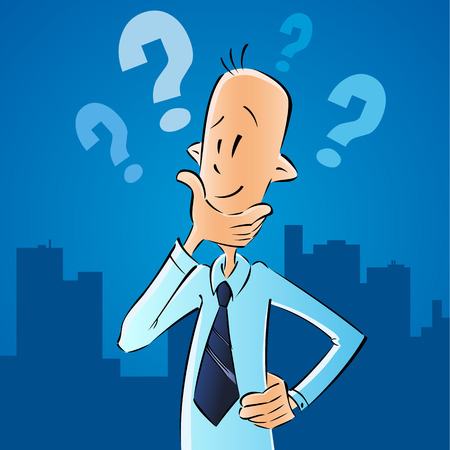 Business man and question marks, to find ways to solve the problem. The vector concept of business difficulties businessman on navy blue city background.