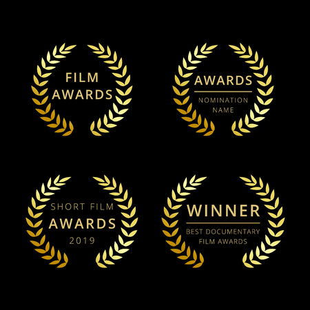 Film awards logotype. Isolated elegant abstract gold gradient emblem. Luxurious congratulating framed template, prize. Celebrating decorative traditional greetings, palms branches in minimalism style