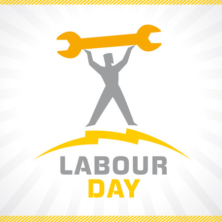 Labor Day, lettering 1st may and workman with wrench on sunbeams.