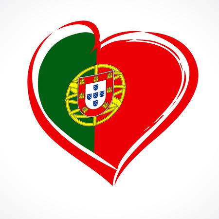Aime le Portugal, emblème du coeur dans le drapeau national coloré. Drapeau du Portugal avec forme de coeur pour le jour de l'indépendance du Portugal isolé sur fond blanc. Illustration vectorielle