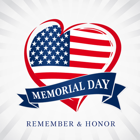Memorial day remember & honor, heart and flag light beams banner. Happy Memorial Day vector background template with heart in national flag colors Illustration