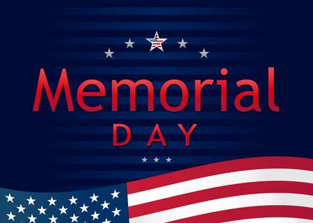Memorial Day, remember and honor banner. Memorial Day lettering vector template with USA flag and text on navy blue background Illustration
