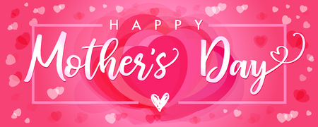 Happy Mother`s Day elegant lettering and pink hearts banner. Calligraphy vector text and heart in frame background for Mothers Day. Best mom ever greeting card Stock Illustratie