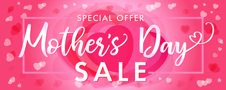 Happy Mother`s Day elegant lettering and pink hearts sale banner. Calligraphy vector text special offer SALE and heart in the background for Mothers Day