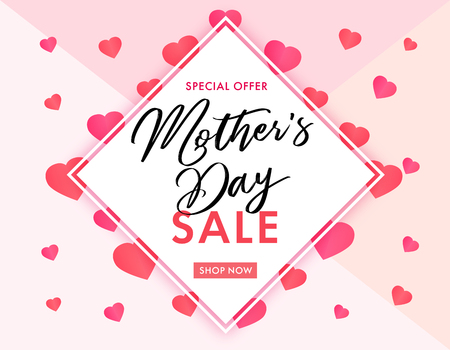 Mother`s Day sale banner elegant lettering and pink hearts. Calligraphy vector text special offer SALE and pink hearts on background for Mothers Day