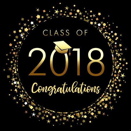 Class of 2018 graduation poster with gold glitter confetti. Class of 2018 congratulations design graphics for decoration with golden colored for design cards, invitations or banner 向量圖像