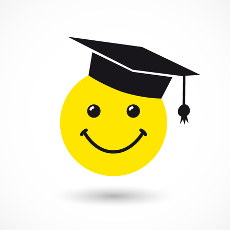 Graduating smiling sign with square academic cap. Congratulating greetings logotype template, idea for graduates, isolated design graphics for decoration on white background. Vettoriali