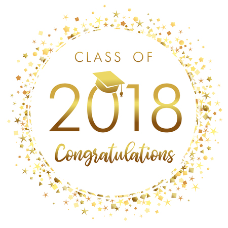 Graduating class of 2018 light vector illustration. Class of 2018 design graphics for decoration with golden colored for design cards, invitations or banner.