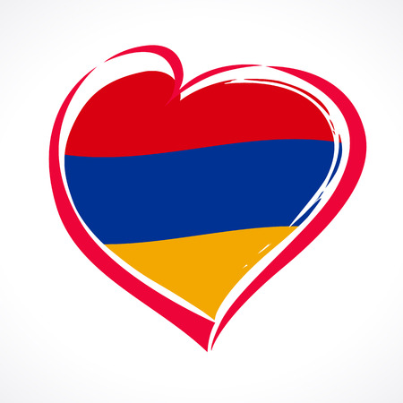 Love Armenia, heart emblem national flag colored. Flag of Armenia with heart shape for Armenia Republic isolated on white background. Vector illustration