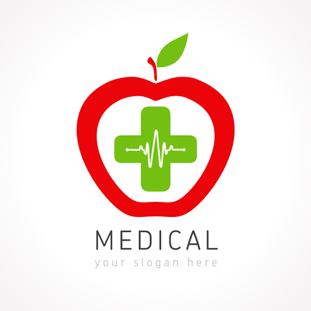 Medical logotype. Pharmacy colored plus cross apple as a heart. Stock Vector - 101232814