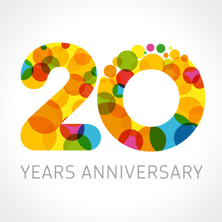 20 years old multicolored logotype. Anniversary 20th greetings, congratulations pattern template. Isolated shape numbers. Abstract colored digits of percent% off, second 2nd place, graphic 0 emblem.