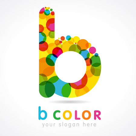 Letter B logotype. Isolated color emblem. Stained glass colores graphic template. Clouds and bubbles with multicolored bunch. Corporate soft branding identity. Vector mosaic texture, trendy label. Çizim