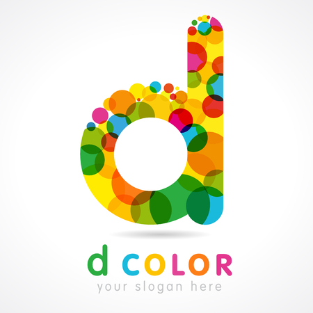 Letter D . Isolated color emblem. Stained glass colored graphic template. Clouds and bubbles with multicolored bunch. Corporate soft branding identity. Creative mosaic texture, trendy label.